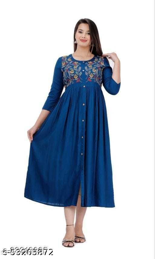 Women Rayon Emb Blue Kurti Cum Gown