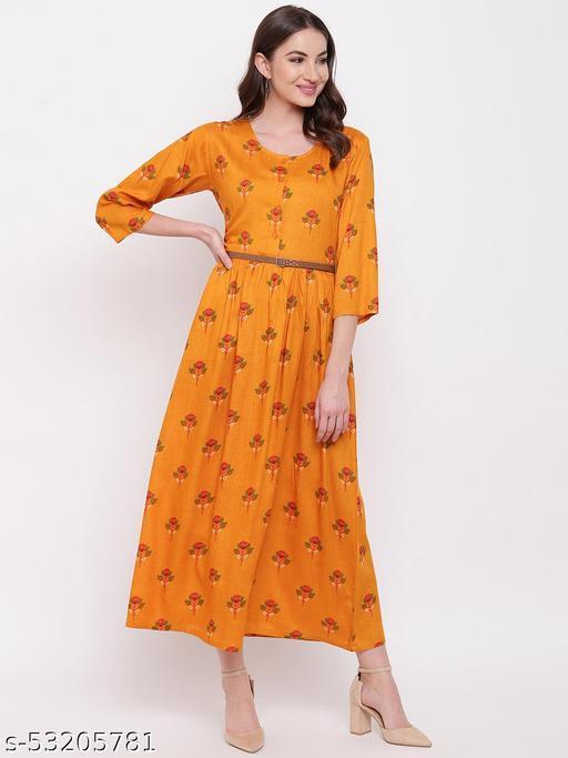 Mayra Women's Rayon Yellow Floral Print Long Party Wear Dress