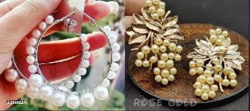 Klenot Combo of Rose Gold Leaf Pearl Design Earrings And Single Pearl Hoop Earrings