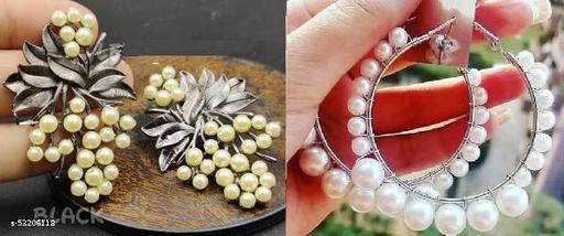 Klenot Combo of Black Oxidised Leaf Pearl Design Earrings And Single Pearl Hoop Earrings