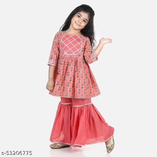 Hopscotch Girls Cotton Blend Sleeves Kurta With Sharara Set in Peach Color (1096705)