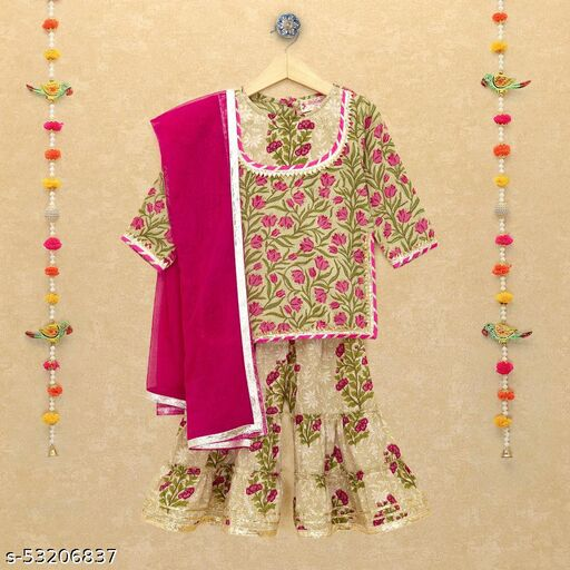 Hopscotch Girls Cotton Full Sleeves Sharara Set in Green Color (1062341)