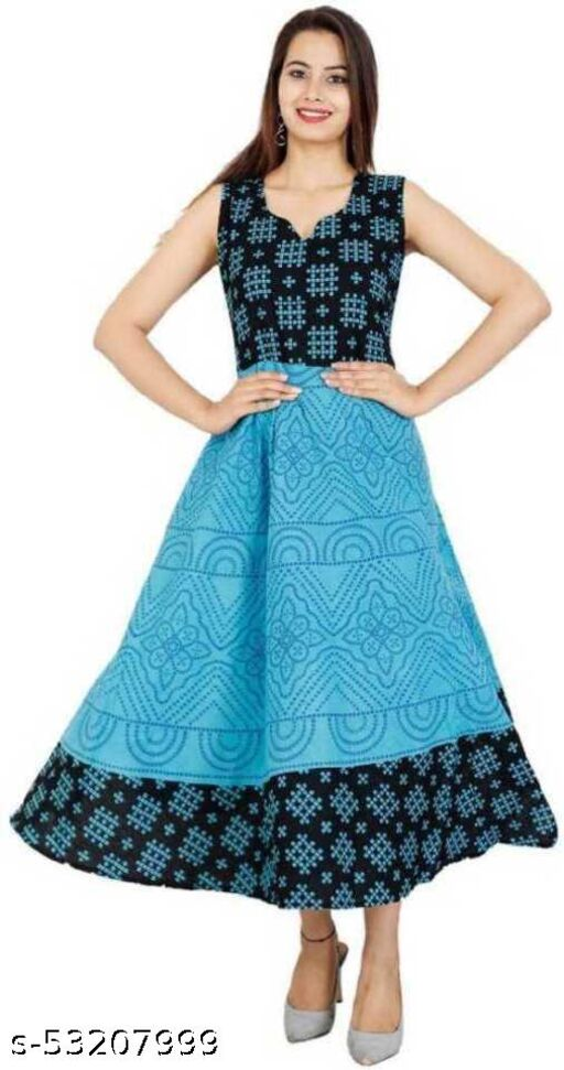 SHREE CREATION Cotton Sleevless MultiColor Gown for Women & Girls