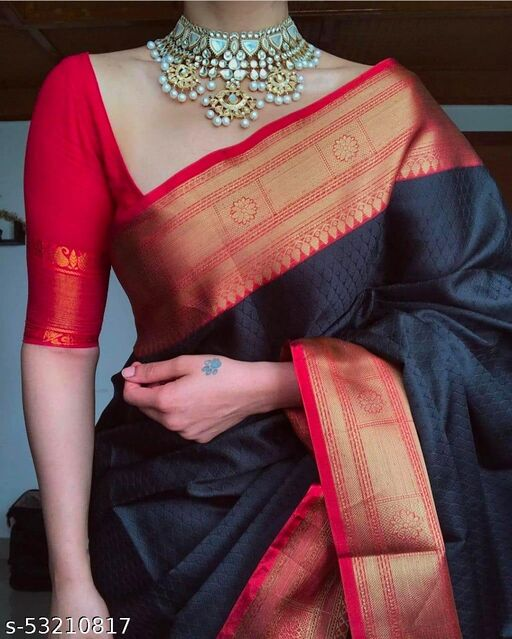 SOFT LICHI SILK CLOTH  BEAUTIFUL RICH PALLU AND JACQUARD WORK ON ALL OVER THE SAREE WITH  BEAUTIFUL BLOUSE