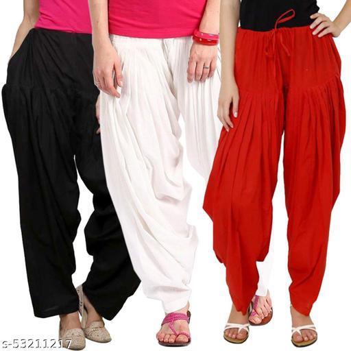 Dark Cottton 100% Pure Cotton Patiala For Girls & Women (Pack Of 3)