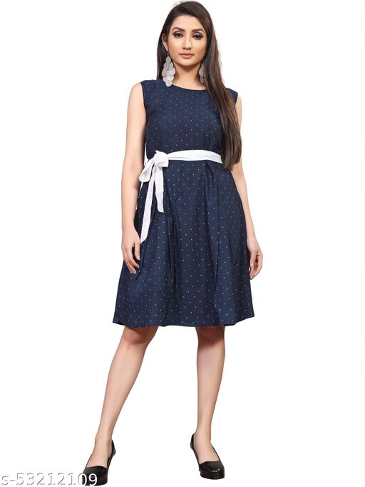 KHUSHI Women A-line blue Dress
