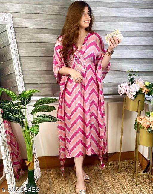 Cotton Embroidered Printed Kaftan Pink