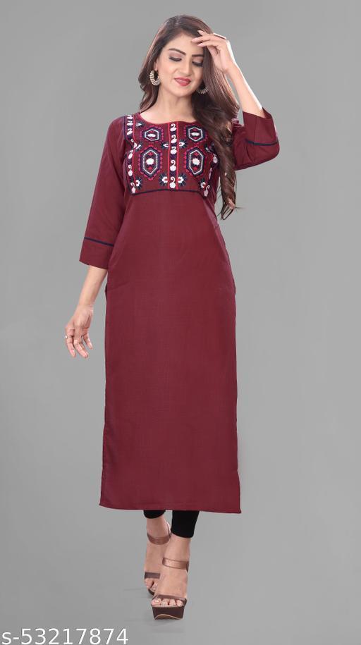 cotton embroidery kurti for women