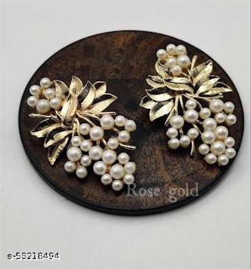 Klenot Rose Gold Leaf Pearl Design Earrings