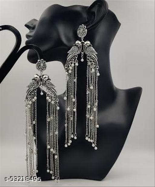 Klenot Silver Oxidised Pegion Design Long Chain Earrings