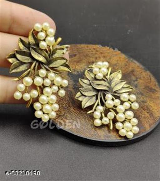 Klenot Oxidised Gold Leaf Pearl Design Earrings