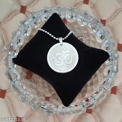 Shiv Jagdamba  Sterling Silver Yoga Om Locket Chain  Silver Stainless Steel Religious Pendant Necklace Chain For Men And Women