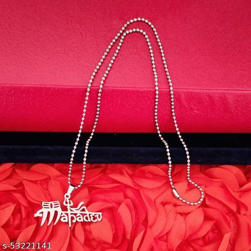 M Men Style Religious Shiv Shankar Mahadev Trishul Locket Silver Stainless Steel Religious Pendant Necklace Chain For