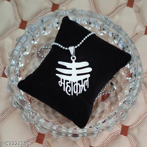 Shiv Jagdamba  Religious Jewelry Mahakal Shiva Locket With Chain  Silver Stainless Steel Religious Pendant Necklace Chain