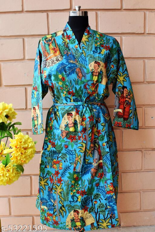 DESIGNER COMFORT WEAR KIMONO DRESS HIGH QUALITY PRINTED PURE COTTON FROM RAJASTHAN FOR GIRLS AND WOMEN