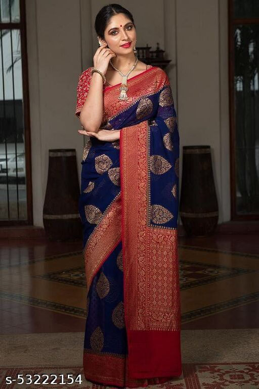 SOFT LICHI SILK CLOTH ALL OVER WEAVING GOLD BEAUTIFUL RICH PALLU & JACQUARD WORK ON ALL OVER THE SAREE WITH JACQUARD BLOUSE