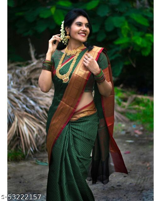 Beautiful Art Silk Jacquard Border , BEAUTIFUL RICH PALLU & JACQUARD  PATTERN WORK  ON ALL OVER THE SAREE WITH CONTRAST WITH EXCLUSIVE JACQUARD BORDER WITH BLOUSE