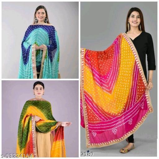 Women's Girl's Art Silk Rajasthani Jaipuri Traditional Bandhani Bandhejdupatta