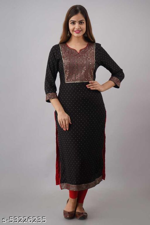 Stylish Printed Rayon Fabric Daily and Casual Wear knee length kurti for women and girls