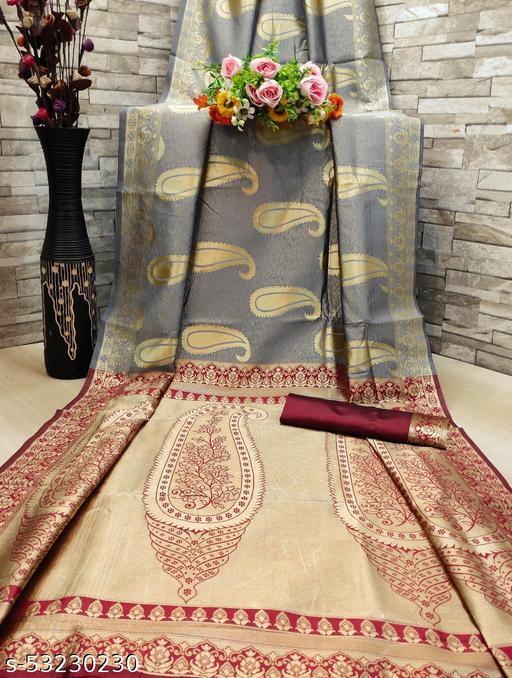 Women's Banarasi Jacquard Art Silk Saree Gold Zari Wooven Work Saree With Blouse Piece