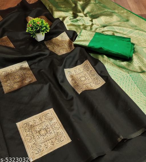 womens jacquard silk saree with blouse piece
