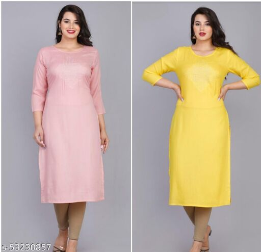 AG AND COMPANY Women's Printed RAYON Straight Kurta Combo (PINK AND YELLOW - PACK OF 2)