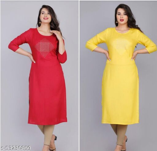 AG AND COMPANY Women's Printed RAYON Straight Kurta Combo (RED AND YELLOW  - PACK OF 2)