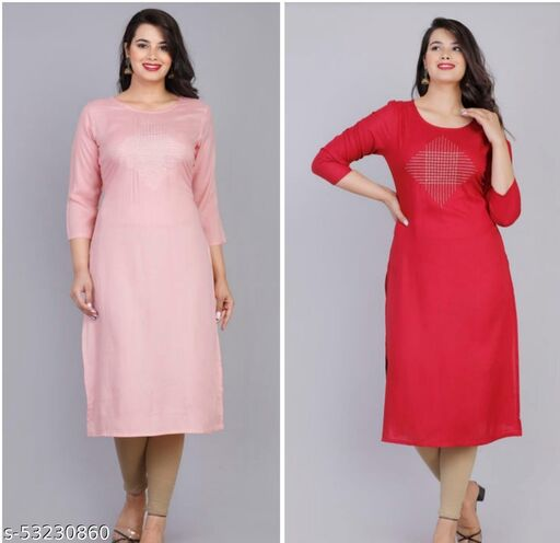 AG AND COMPANY Women's Printed RAYON Straight Kurta Combo (PINK AND RED - PACK OF 2)