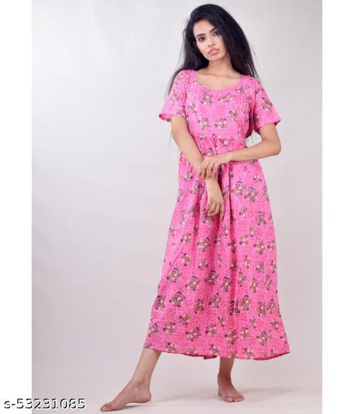CLYMAA Woman Pure Cotton  Feeding/ Maternity Gown/Maternity wear /Nursing Nighty