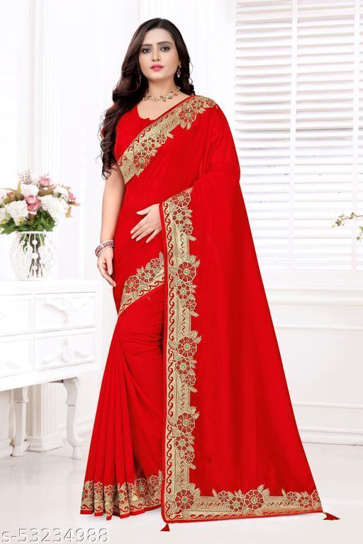 Parv Creation Embroidered Work With Vichitra Silk Saree
