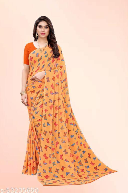Orange Georgette Floral Printed Saree