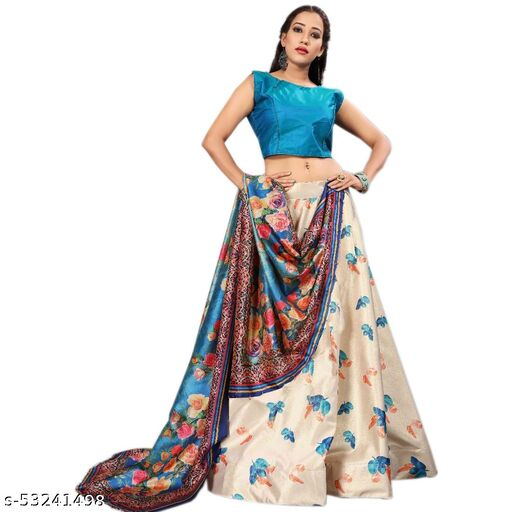 Piermart Dull Satin Semi-Stitched Lehenga Choli Set (BLUE)