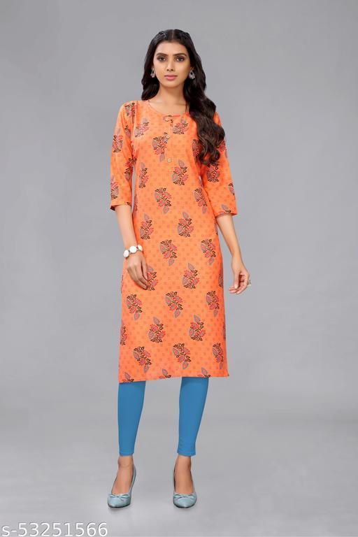 Orange Colored Cotton Floral Print Kurti.