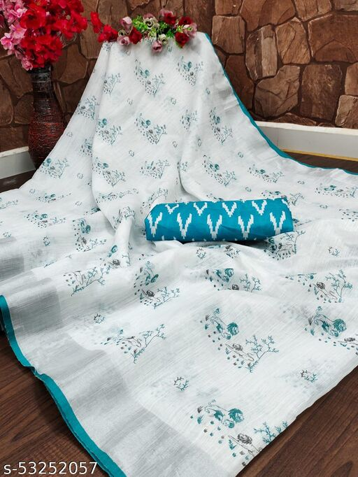 linen saree with full hand Print Pallu
