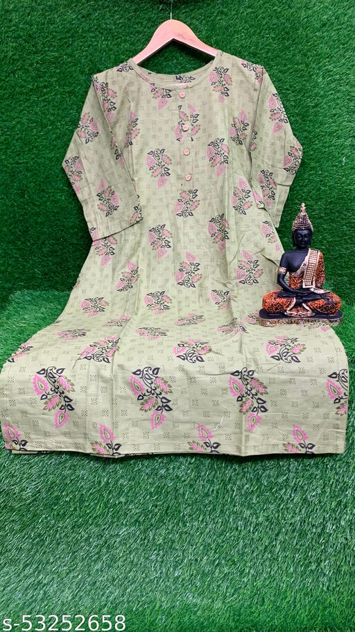 Teal Green Colored Cotton Floral Print Kurti.