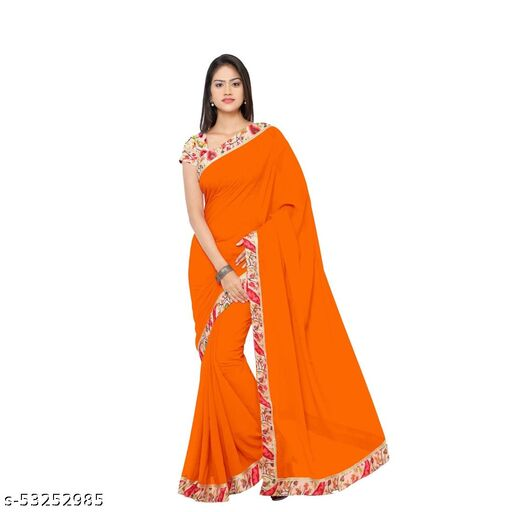Daily wear Georgette Solid Saree