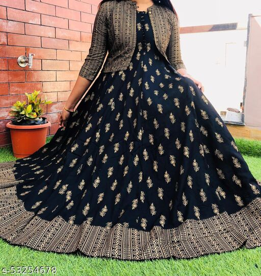 AG AND COMPANY Women's Printed RAYON long anrakali gown kurti with jacket set (BLACK)