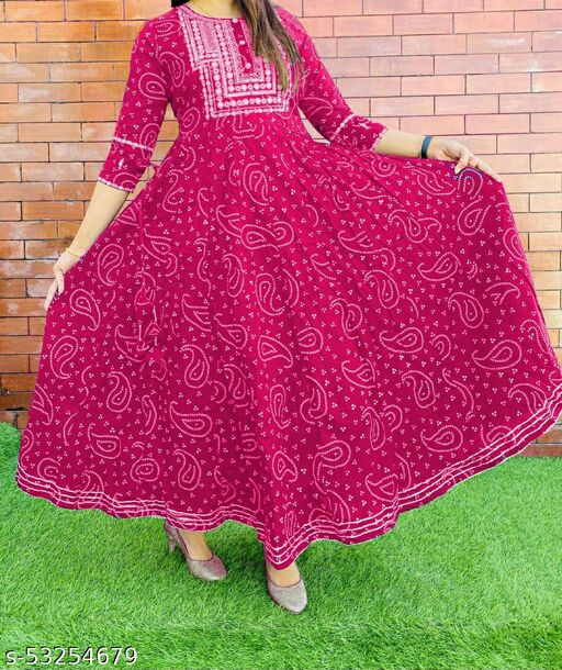 AG AND COMPANY Women's Ragithani  Printed RAYON long anrakali Designer Gown kurti With buttons and embroidery  (DARK PINK)