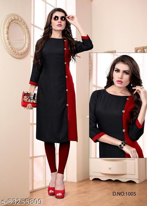 Women solid Rayon Anarkali KurtI