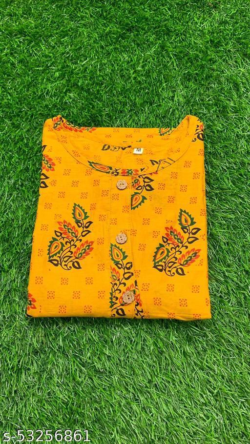 Yellow Colored Cotton Floral Print Kurti.