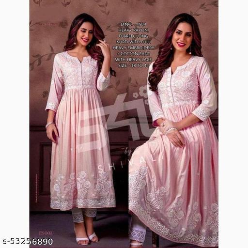 Women Rayon Emb Pink Stylish Long Kurti