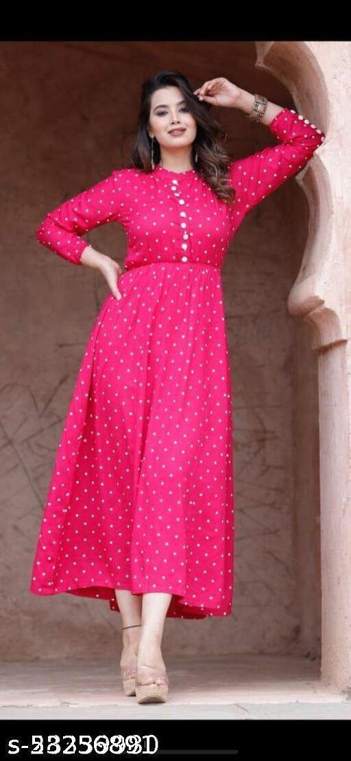 Women Rayon Printed Dark Pink Kurti