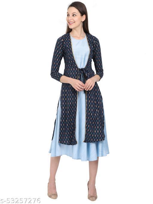 Sangrelia women blue jacket with kurti