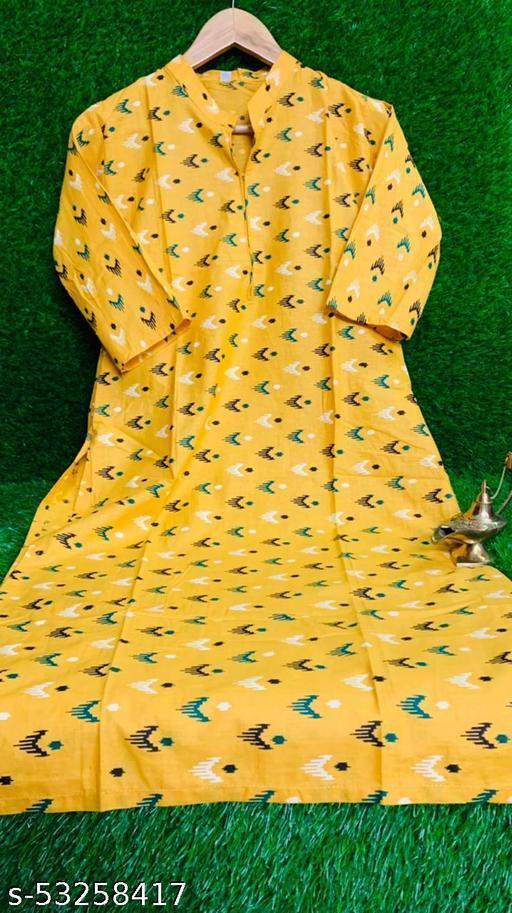 Yellow  Colored Cotton Abstract Print Kurti