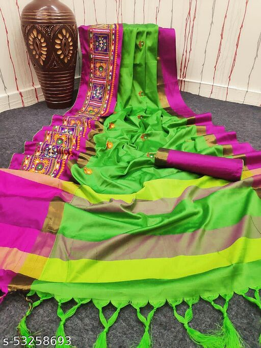 present hit design with new most attractive addition of cotton silk saree with multicolour thread embroidery