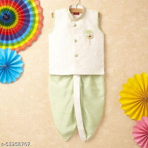 Hopscotch Boys Cotton Kurta Set With Dhoti Pants in Green Color (1086360)