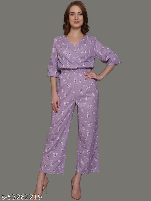 Women's Lavender Floral Printed Jumpsuite