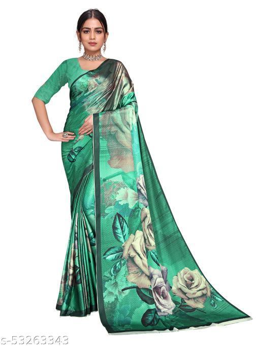 Aurima Satin Silk Digital Printed Deisgner Saree For Women (Green)