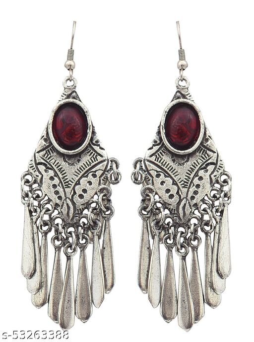 Alcove Ethnic Traditional Fashion Oxidized Silver Dangler Stud Earrings for Women & Girls