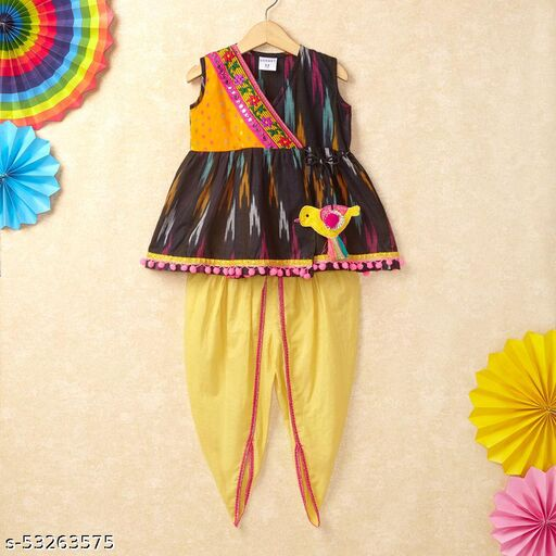 Hopscotch Girls Cotton Printed Ikat Kurta With Dhoti in Multi Color (1093143)